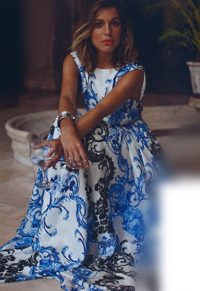 Vestido com Estampa azul